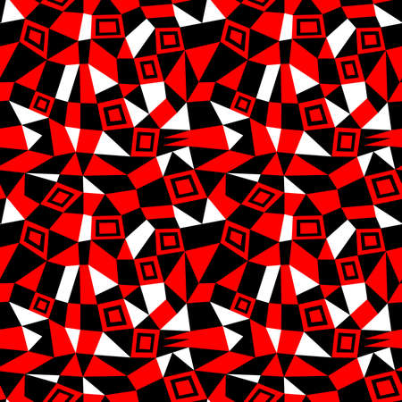 Geometric Abstract - Seamless Vector Pattern (4up) - Red, Black and White