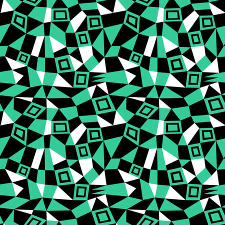Geometric Abstract - Seamless Vector Pattern (4up) - Sea Green, Black and White