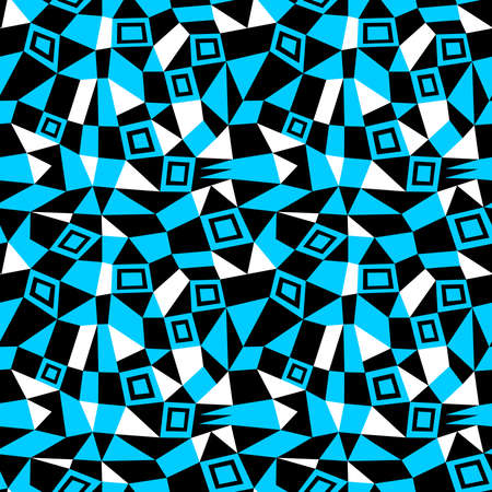 Geometric Abstract - Seamless Vector Pattern (4up) - Sky Blue, Black and White