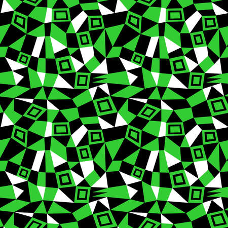 Geometric Abstract - Seamless Vector Pattern (4up) - Spring Green, Black and White