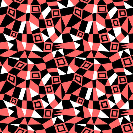 Geometric Abstract - Seamless Vector Pattern (4up) - Tropical Pink, Black and White