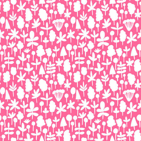 Tree and Leaf Shapes Pattern ( 051017) - Seamless Vector Pattern (4up) - White on Deep Pink