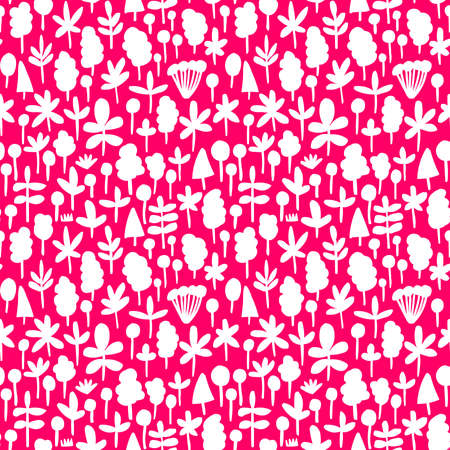 Tree and Leaf Shapes Pattern ( 051017) - Seamless Vector Pattern (4up) - White on Neon Red Illusztráció