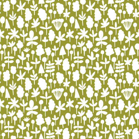 Tree and Leaf Shapes Pattern ( 051017) - Seamless Vector Pattern (4up) - White on Olive Green Illusztráció
