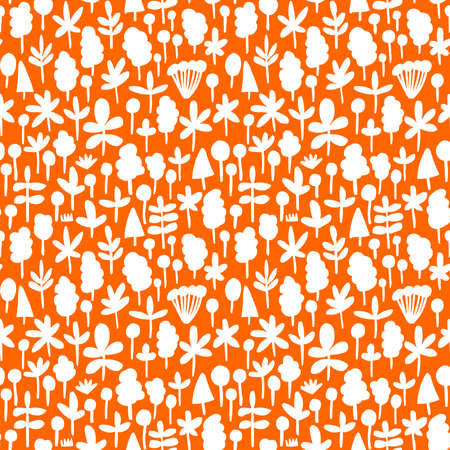 Tree and Leaf Shapes Pattern ( 051017) - Seamless Vector Pattern (4up) - White on Orange