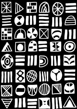 Hand Drawn Abstract Shapes Pattern  060617 - Seamless Pattern Vector - White on Black