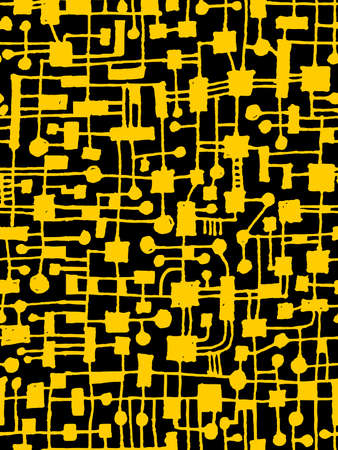 Hand Drawn Abstract Network Pattern - Seamless Vector pattern - Amber on Black Illusztráció