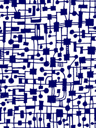 Hand Drawn Abstract Network Pattern - Seamless Vector pattern - Dark Blue on White