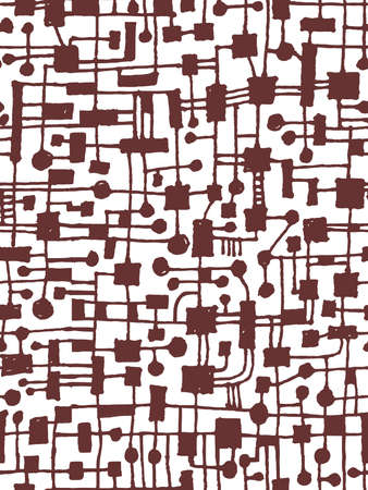 Hand Drawn Abstract Network Pattern - Seamless Vector pattern - Dark Brown on White