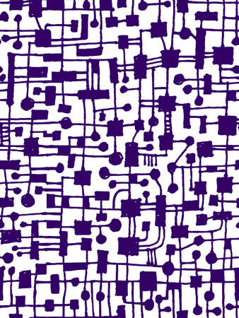 Hand Drawn Abstract Network Pattern - Seamless Vector pattern - Deep Purple on White Vector Illustration