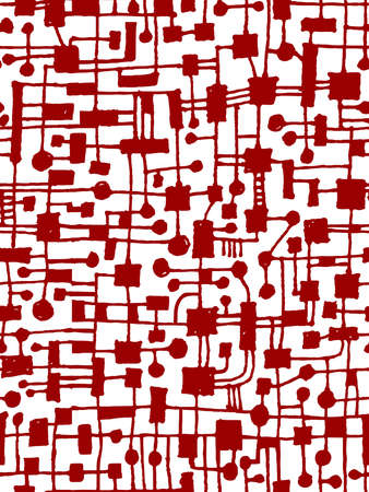 Hand Drawn Abstract Network Pattern - Seamless Vector pattern - Ruby Red on White