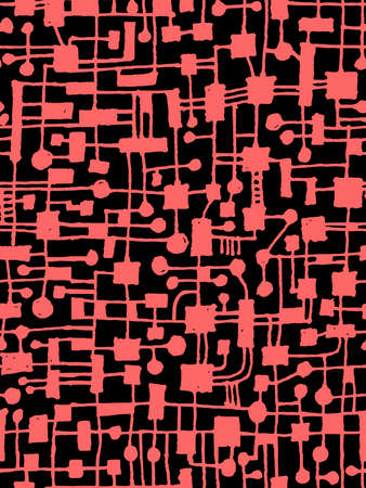 Hand Drawn Abstract Network Pattern - Seamless Vector pattern - Tropical Pink on Black