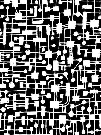 Hand Drawn Abstract Network Pattern - Seamless Vector pattern - White on Black