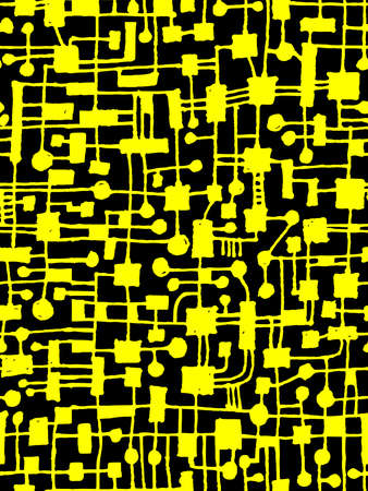 Hand Drawn Abstract Network Pattern - Seamless Vector pattern - Yellow on Black