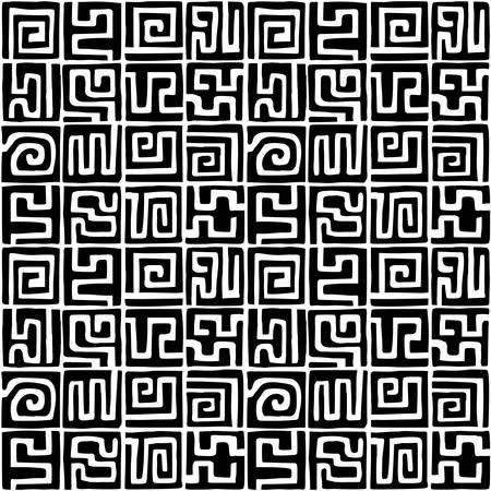 Hand Drawn Kuba Cloth Style Pattern - Seamless Vector Pattern (4up) - Black on White