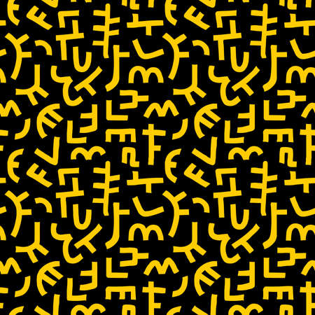 Kuba Style Abstract Pattern - Seamless Vector Pattern (4up) - Amber on Black