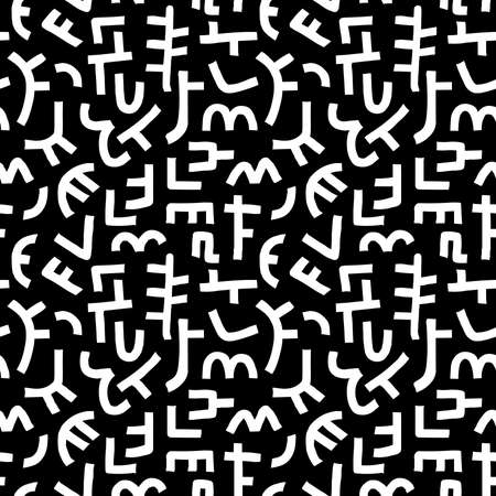 Kuba Style Abstract Pattern - Seamless Vector Pattern (4up) - White on Black