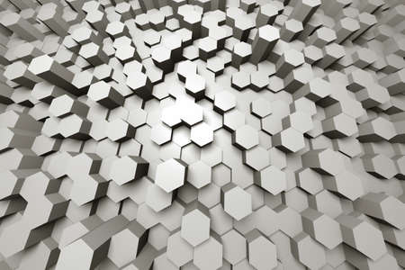 Field of Hexagons From Above - Wide Angle - 3d Render - Warm Tone
