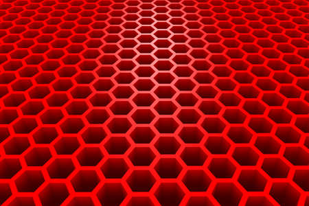 3d Rendered Honeycomb in Perspective - Background - Red