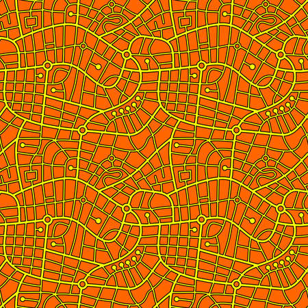 Street Map Pattern (4up) Black Outline with Yellow and Orange