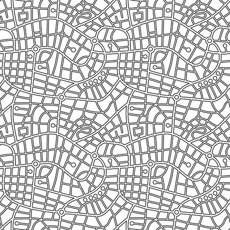Street Map Pattern (4up) Outline - Black on White