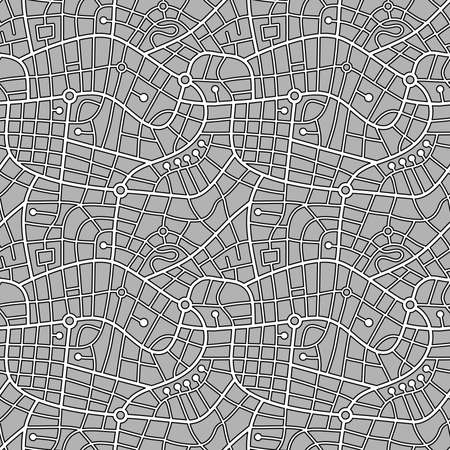 Street Map Pattern (4up) Outline - Black and White on Grey