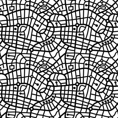 Street Map Pattern (4up) - Bold Black and White Illusztráció