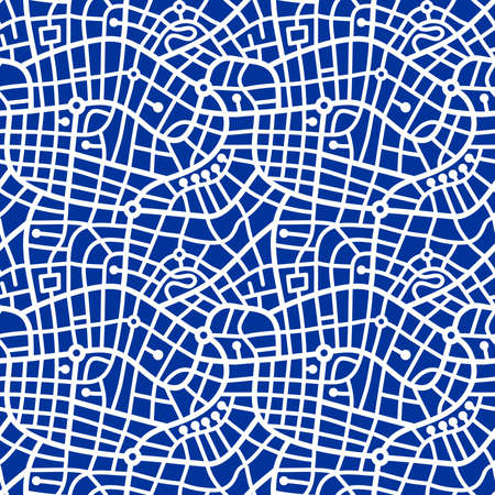 Street Map Pattern (4up) - Bold White on Navy Blue
