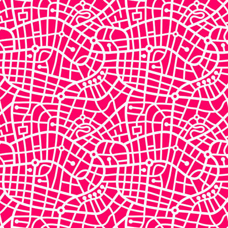 Street Map Pattern (4up) - Bold White on Neon Red Illusztráció