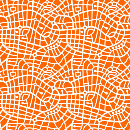 Street Map Pattern (4up) - Bold White on Orange