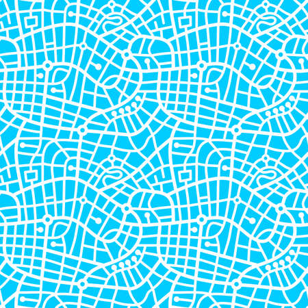 Street Map Pattern (4up) - Bold White on Sky Blue
