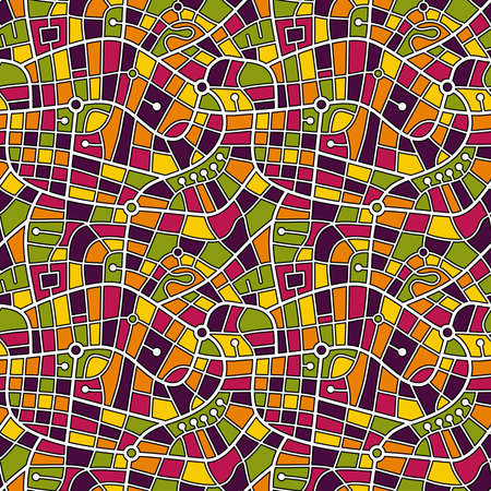 Street Map Pattern (4up) - Black Outlined White Roads with a Patchwork of Harmonious Colours