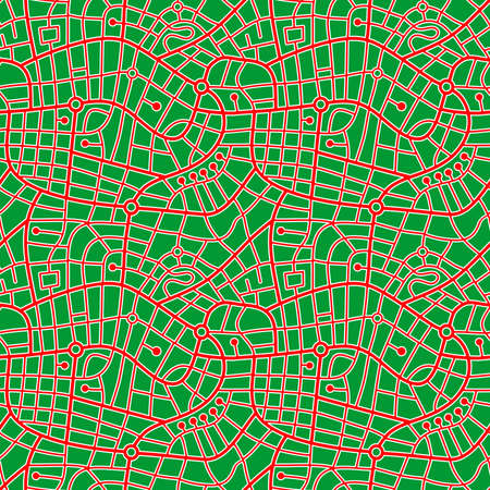 Street Map Pattern (4up) Red Roads outlined in White with a Grass Green Background