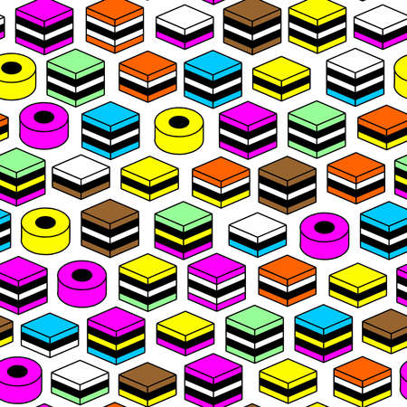 Memphis Style Liquorice All Sorts Pattern - Seamless Vector Pattern