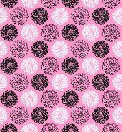 Chrysanthemum Variations Seamless Pattern (4up) - Pink - A repeating pattern made up of three variations of a Chrysanthemum motif.