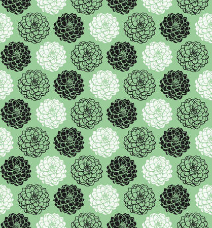 Chrysanthemum Variations Seamless Pattern (4up) - Faded Green - A repeating pattern made up of three variations of a Chrysanthemum motif.