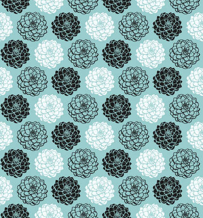 Chrysanthemum Variations Seamless Pattern (4up) - Light Blue Green - A repeating pattern made up of three variations of a Chrysanthemum motif.