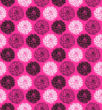 Chrysanthemum Variations Seamless Pattern (4up) - Hot Pink - A repeating pattern made up of three variations of a Chrysanthemum motif. Illusztráció