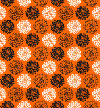 Chrysanthemum Variations Seamless Pattern (4up) - Orange - A repeating pattern made up of three variations of a Chrysanthemum motif.