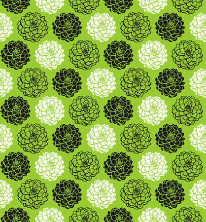 Chrysanthemum Variations Seamless Pattern (4up) - Martian Green - A repeating pattern made up of three variations of a Chrysanthemum motif.
