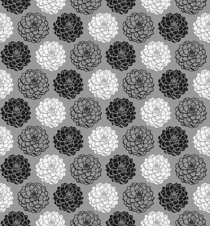 Chrysanthemum Variations Seamless Pattern (4up) - Grey - A repeating pattern made up of three variations of a Chrysanthemum motif. Illusztráció