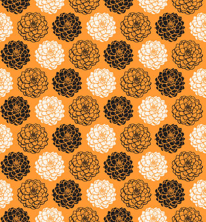 Chrysanthemum Variations Seamless Pattern (4up) - Light Orange - A repeating pattern made up of three variations of a Chrysanthemum motif. Illusztráció