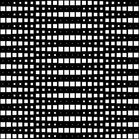 Geometric Interwoven Halftone Seamless Mosaic Pattern - White on Black Illusztráció