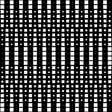 Geometric Interwoven Halftone Seamless Mosaic Pattern Vertical  - White on Black