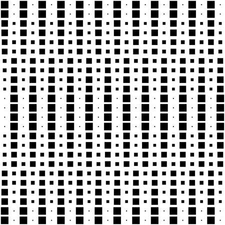 Geometric Interwoven Halftone Seamless Mosaic Pattern Vertical - Black on White
