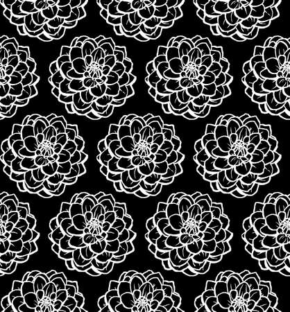 Hand Drawn Chrysanthemum Seamless Pattern - White on Black Illusztráció