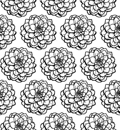 Hand Drawn Chrysanthemum Seamless Pattern - Black on White Illusztráció