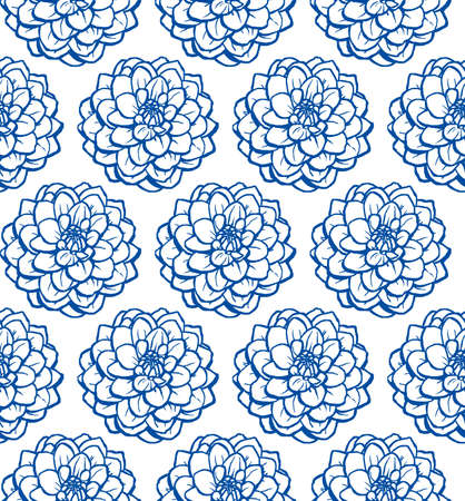Hand Drawn Chrysanthemum Seamless Pattern - Navy Blue on White Illusztráció