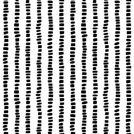 Spotted Lines Seamless Pattern - Black on White - Vertical lines made up of hand drawn rectangles and elliptical shapes