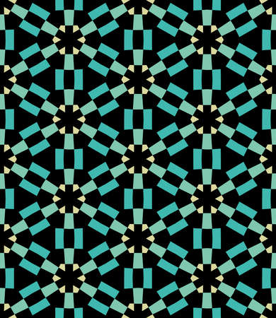 Geometric Asterisk and Hexagon Seamless Pattern - Turquoise, Pale Green and Pale Yellow with Black Illusztráció